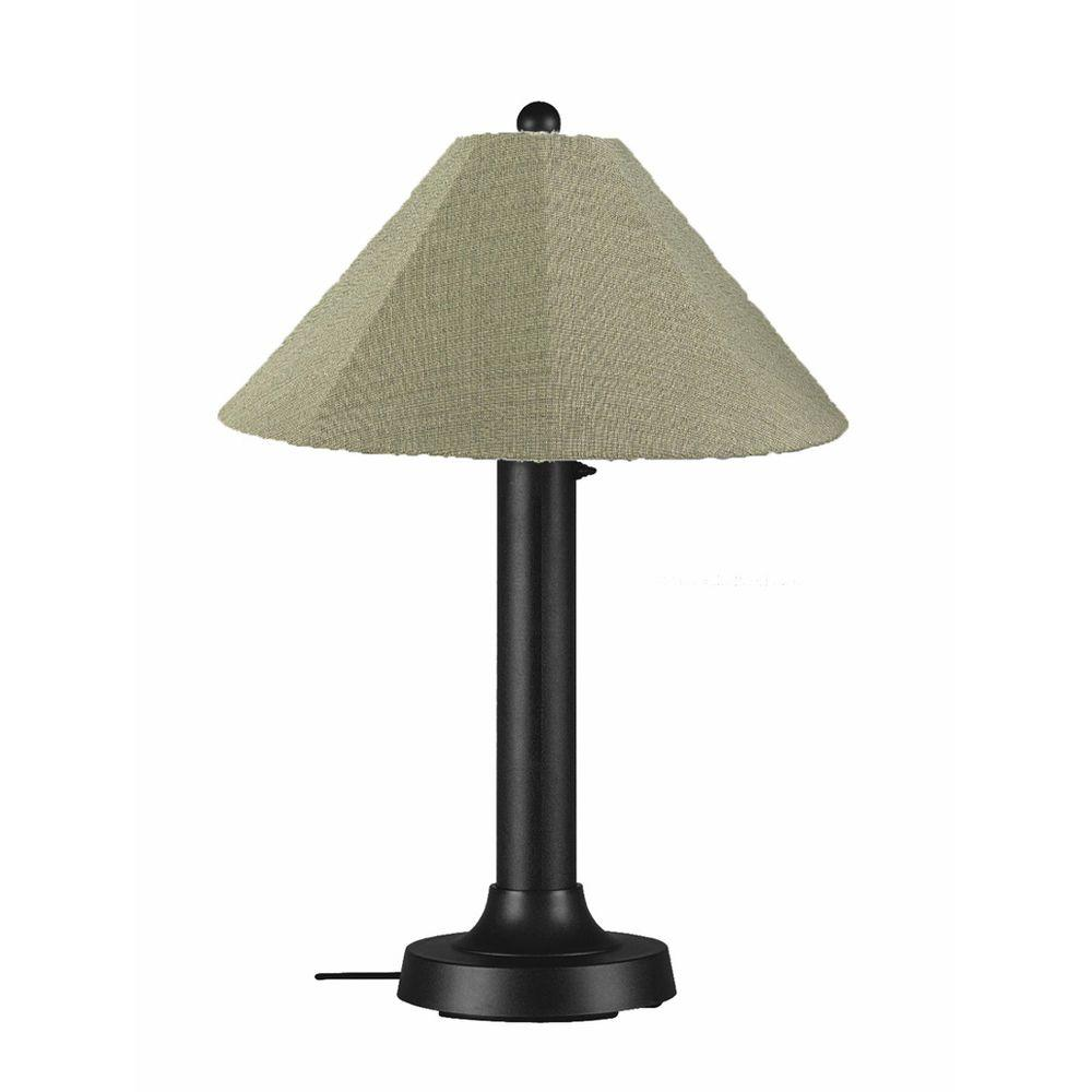 Catalina 34 in. Black Outdoor Table Lamp with Basil Linen Shade