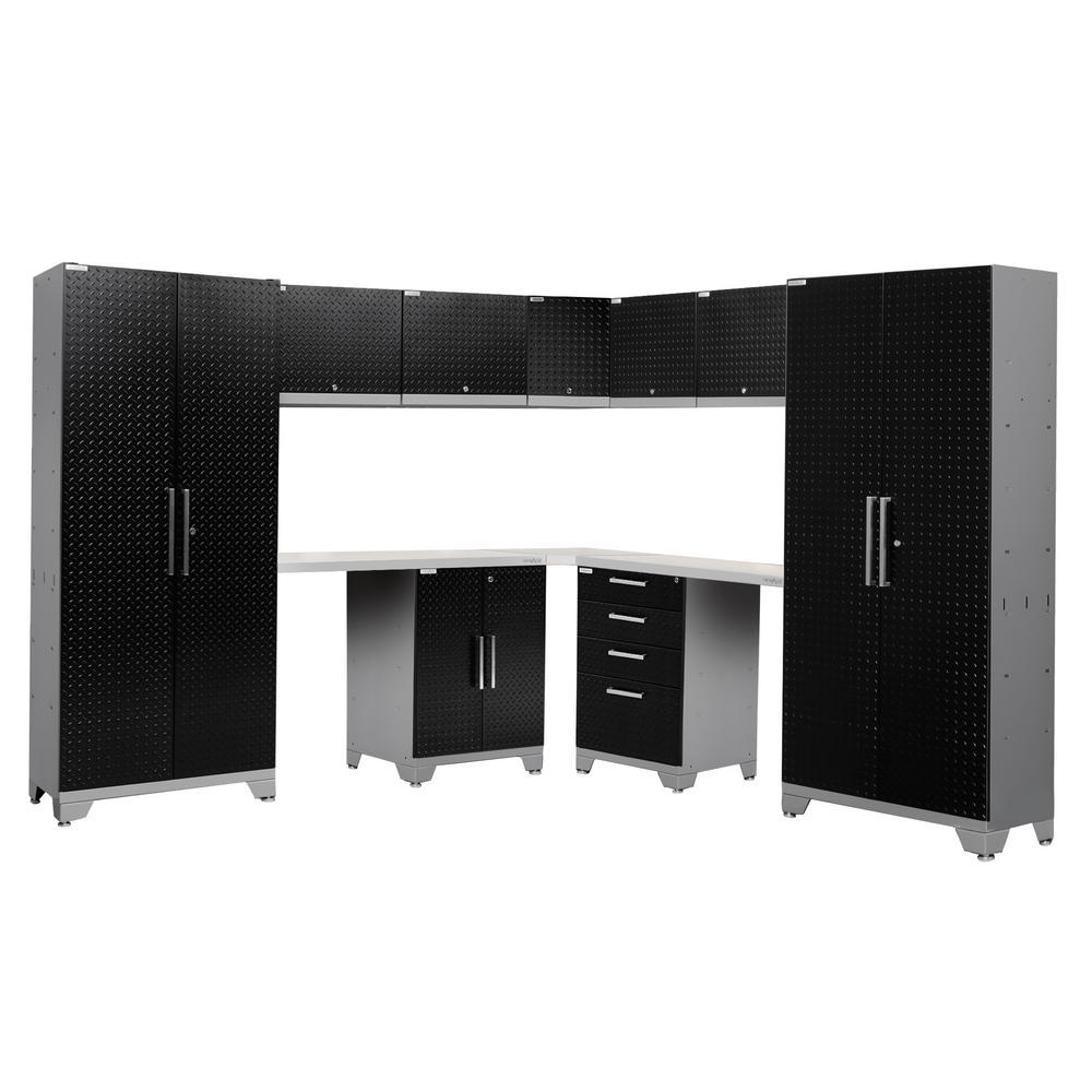 Performance Diamond Plate 2.0 72 in. H x 177 in. W x 18 in. D Garage Cabinet Set in Black (12-Piece)