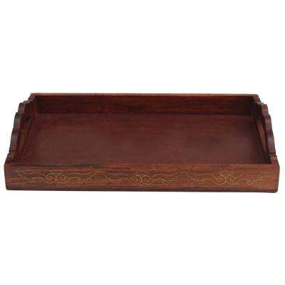 Antique Handmade Brown Wooden Serving Tray with Brass Work