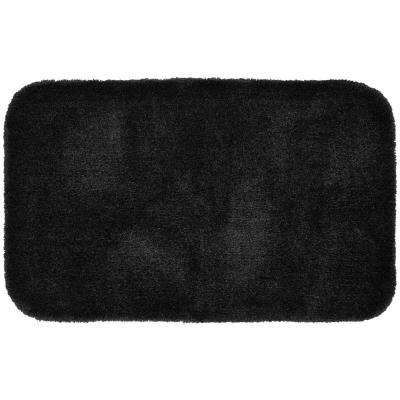 Finest Luxury Black 24 in. x 40 in. Washable Bathroom Accent Rug