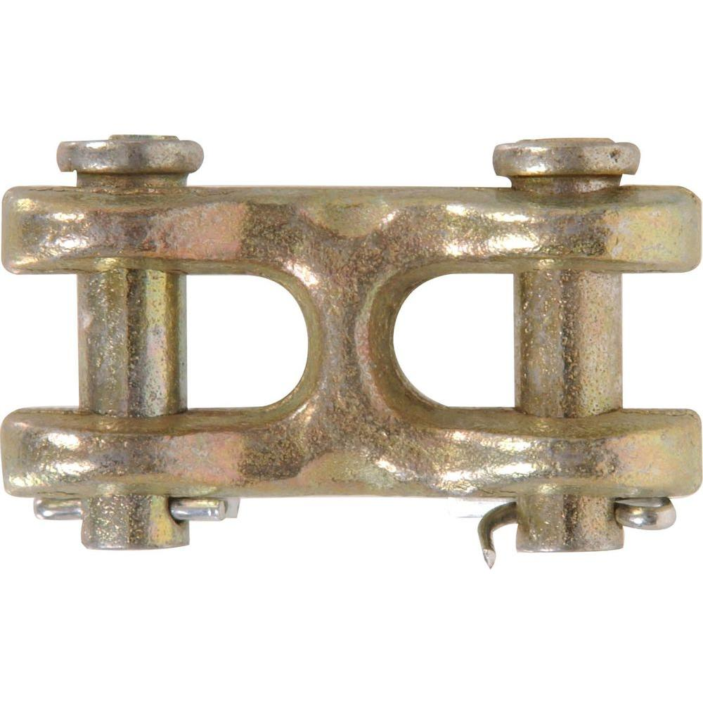 3/8 in  Zinc and Yellow Dichromate Plated Forged Steel Double Clevis Link  (3-Pack)