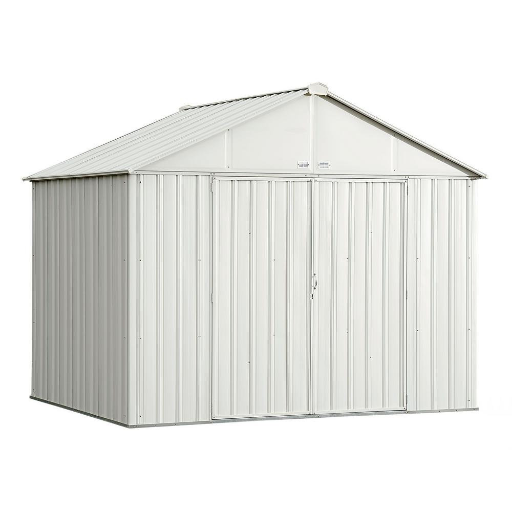 Arrow 10 ft. W x 8 ft. H x 8 ft. D EZEE Galvanized Steel Shed with Extra-High Gable in Cream with Snap-IT Quick Assembly