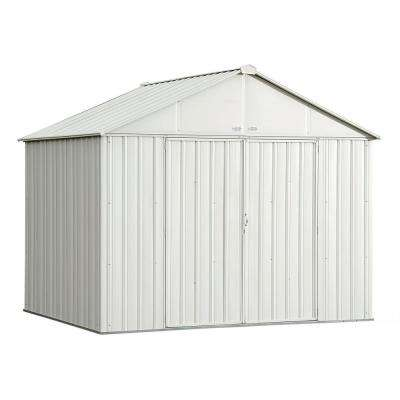 EZEE Shed 10 ft. x 8 ft. Galvanized Steel Cream Extra High Gable