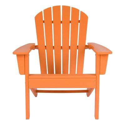 Tangerine Resin Seaside Plastic Adirondack Chair