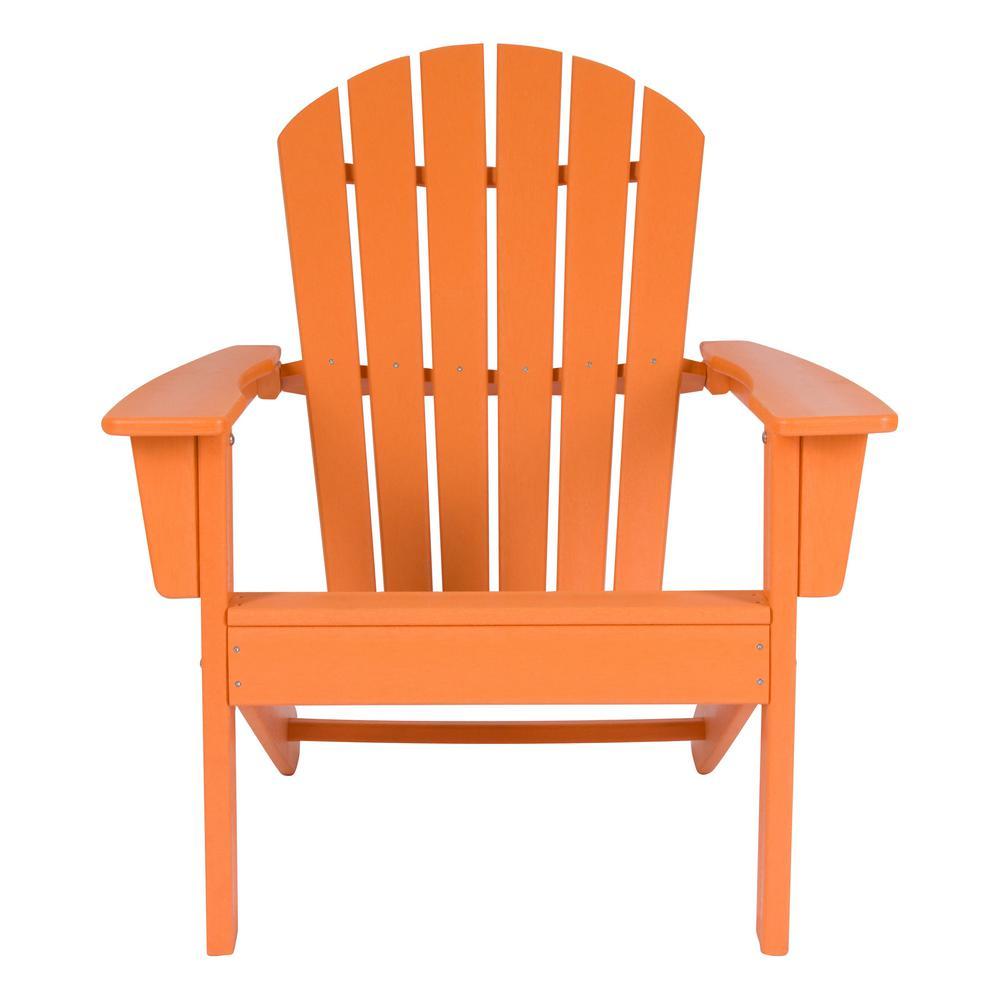 dad9b68b42 Shine Company Tangerine Resin Seaside Plastic Adirondack Chair