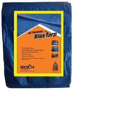 Heavy Duty Blue Poly Tarp Cover 10 ft. x 10 ft. (Finished Size 9 ft. 6 in. x 9 ft. 6 in.) Waterproof, Tarpaulin (2-Pack)