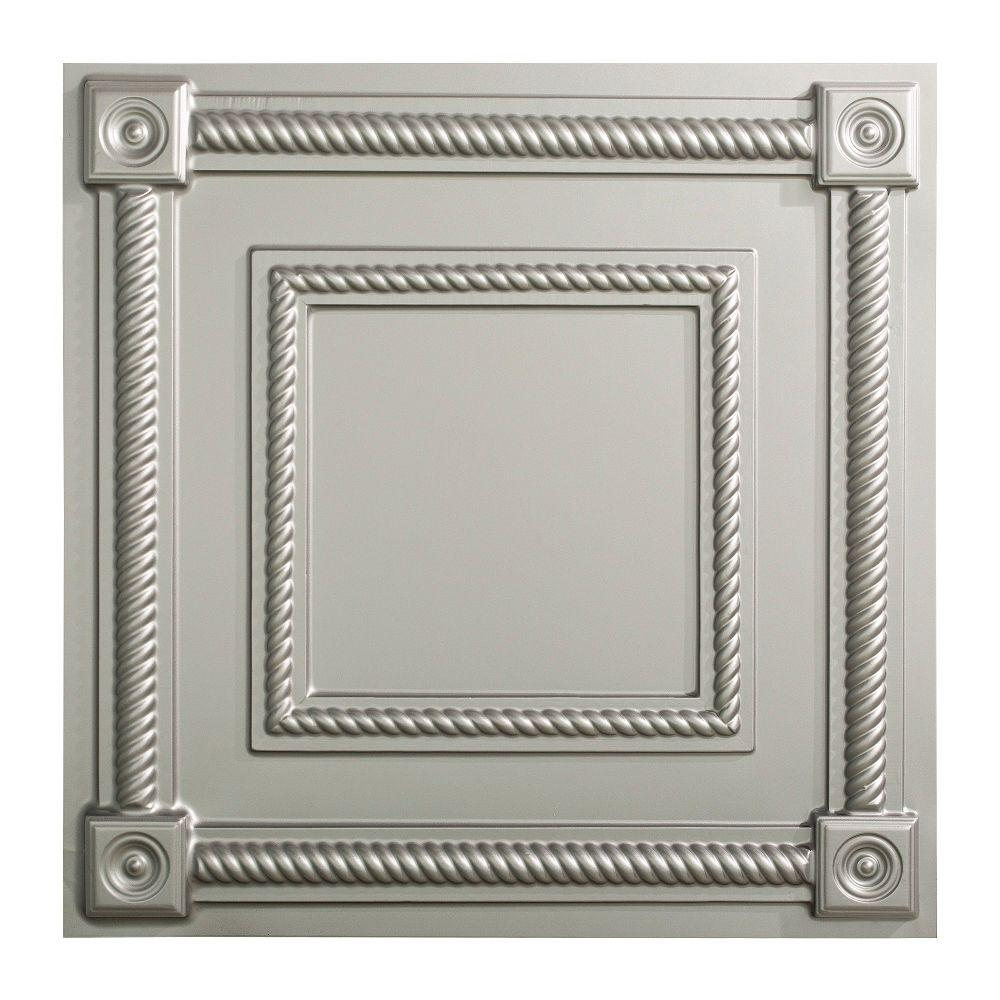 Fasade Coffer - 2 ft. x 2 ft. Lay-in Ceiling Tile in Argent Silver