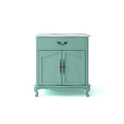 Provence 33 in. W x 22 in. D Vanity in Blue with Marble Vanity Top in White with White Basin