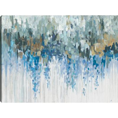 "30 in. x 40 in. ""Blue Waves"" Printed Abstract Canvas Wall Art Gallery Wrapped"