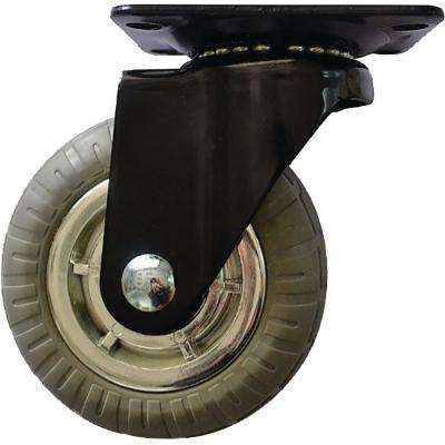 4 in. Chrome Spokes Swivel Caster with 220 lbs. Load Capacity and Soft Rubber Tread (4-Pack)