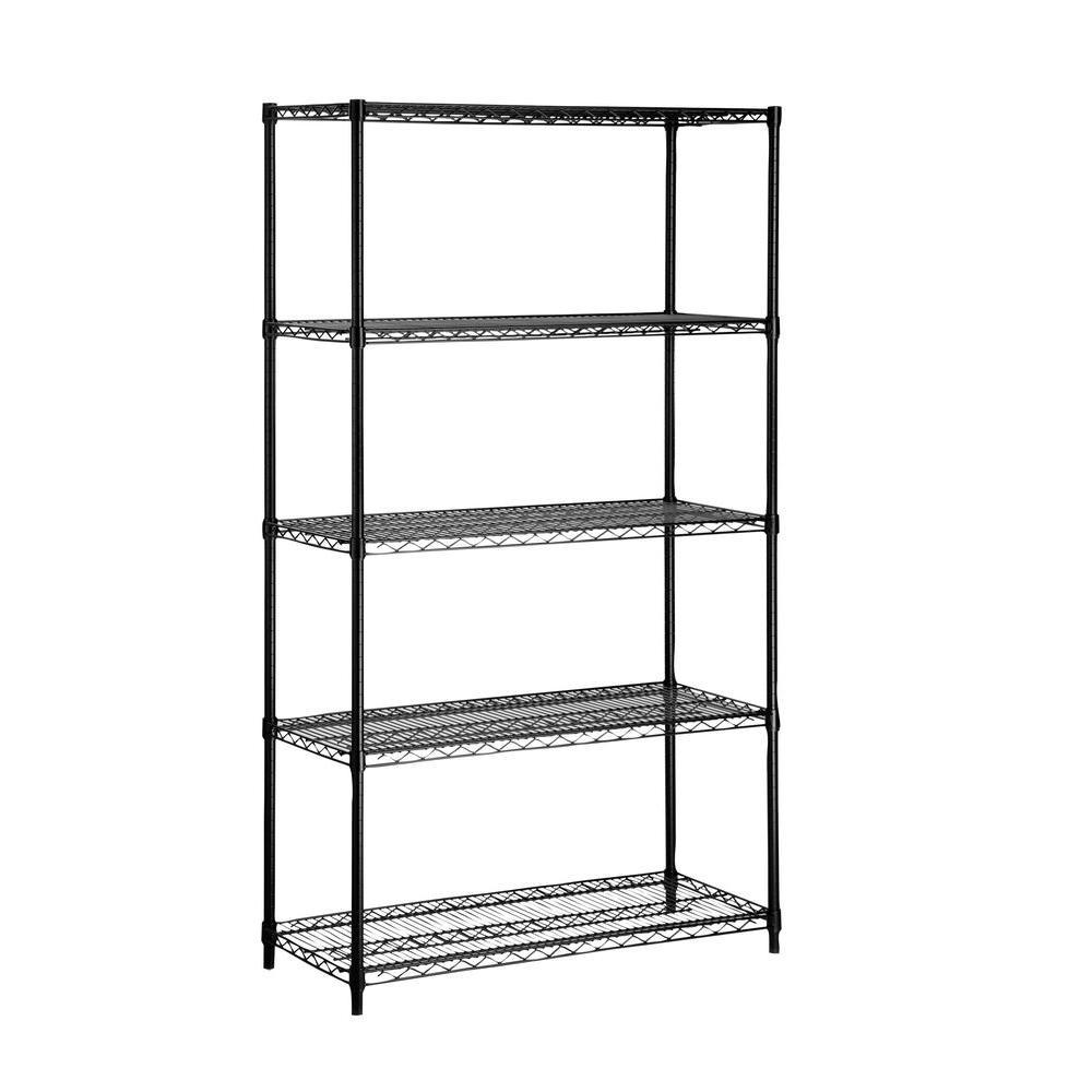 72 in. H x 36 in. W x 16 in. D 5-Shelf Steel Shelving Unit in Black