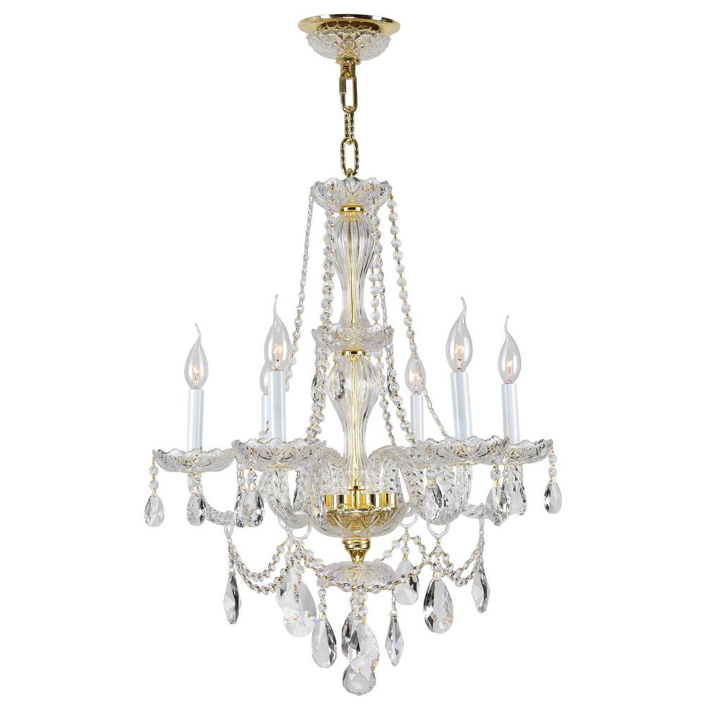 Worldwide lighting provence collection 6 light polished gold and worldwide lighting provence collection 6 light polished gold and clear crystal chandelier aloadofball Gallery