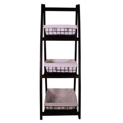 15.7 in. x 44 in. Foldable Wood Shelf with 3 Foldable Metal Baskets and Liners