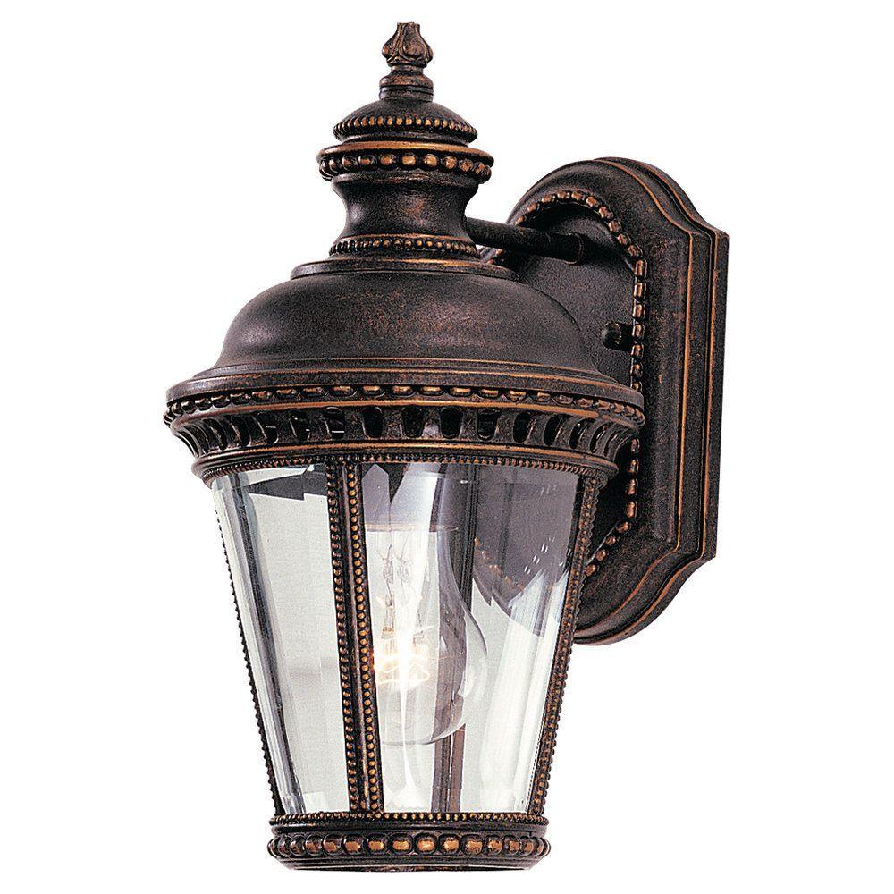 Castle 1-Light Grecian Bronze Outdoor 11.75 in. Wall Lantern Sconce