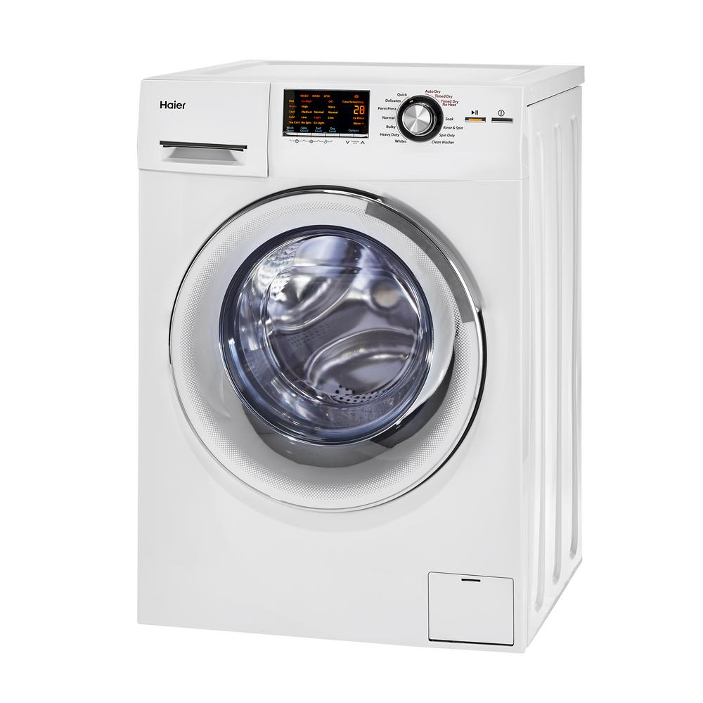 Haier 2.0 cu. ft. White 120-Volt Ventless Electric Washer Dryer Combo Enjoy the convenience and space saving ability of your Haier 2.0 cu. ft. washer and electric dryer combo. Equipped with Compact Fit, it offers installation flexibility in small spaces. Non-vented condensing drying allows clothes to dry without external venting; all you need us a water hookup and a standard outlet and you are ready to use your Haier product. Color: White.