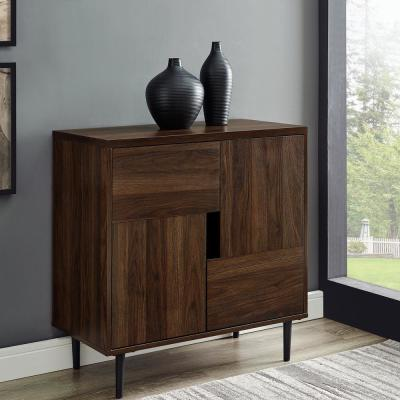 30 in. Dark Walnut/Navy Interior Modern Accent Cabinet