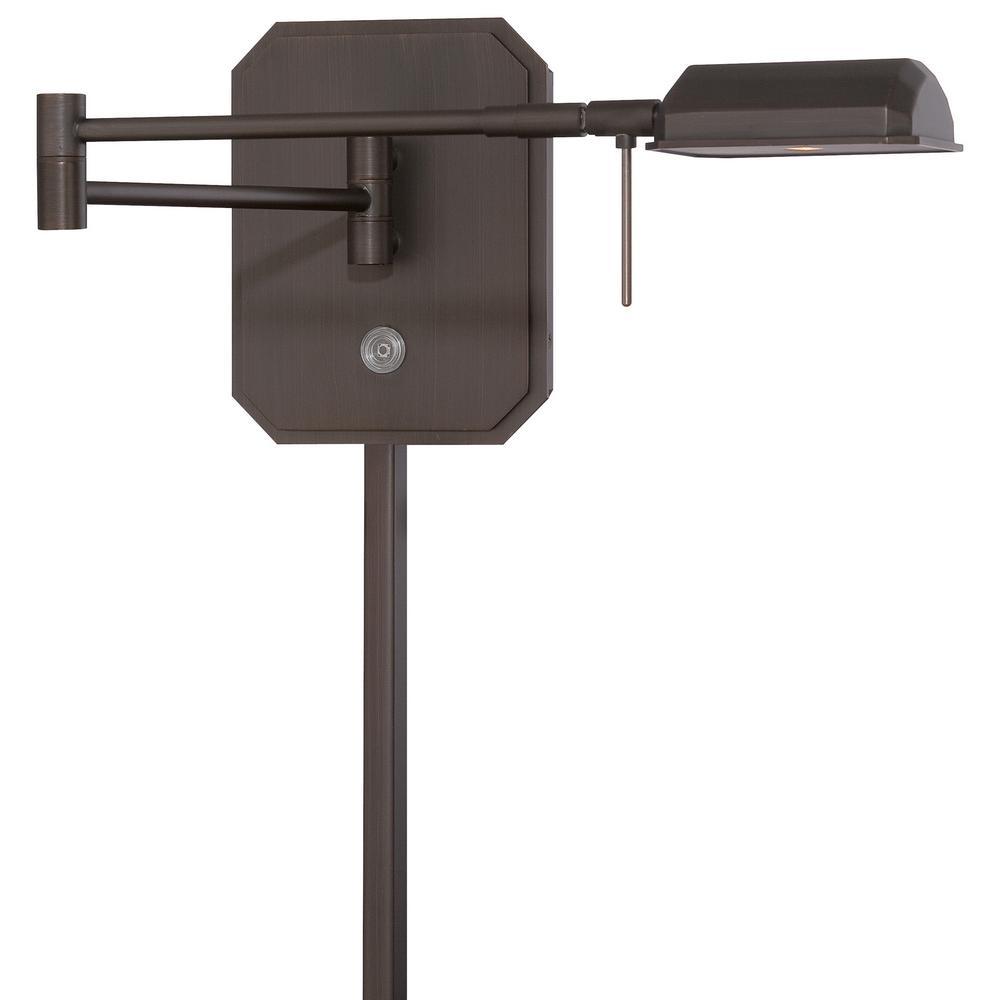 George's Reading Room 8-Watt Copper Bronze Patina Integrated LED Swing Arm