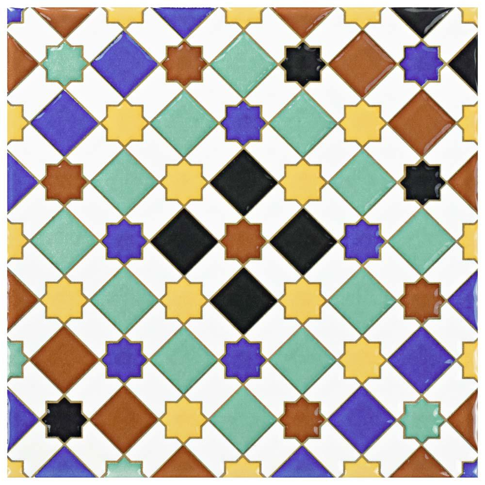 Merola Tile Sevillano Giralda 7-7/8 in. x 7-7/8 in. Ceramic Wall Tile, Multi/High Sheen