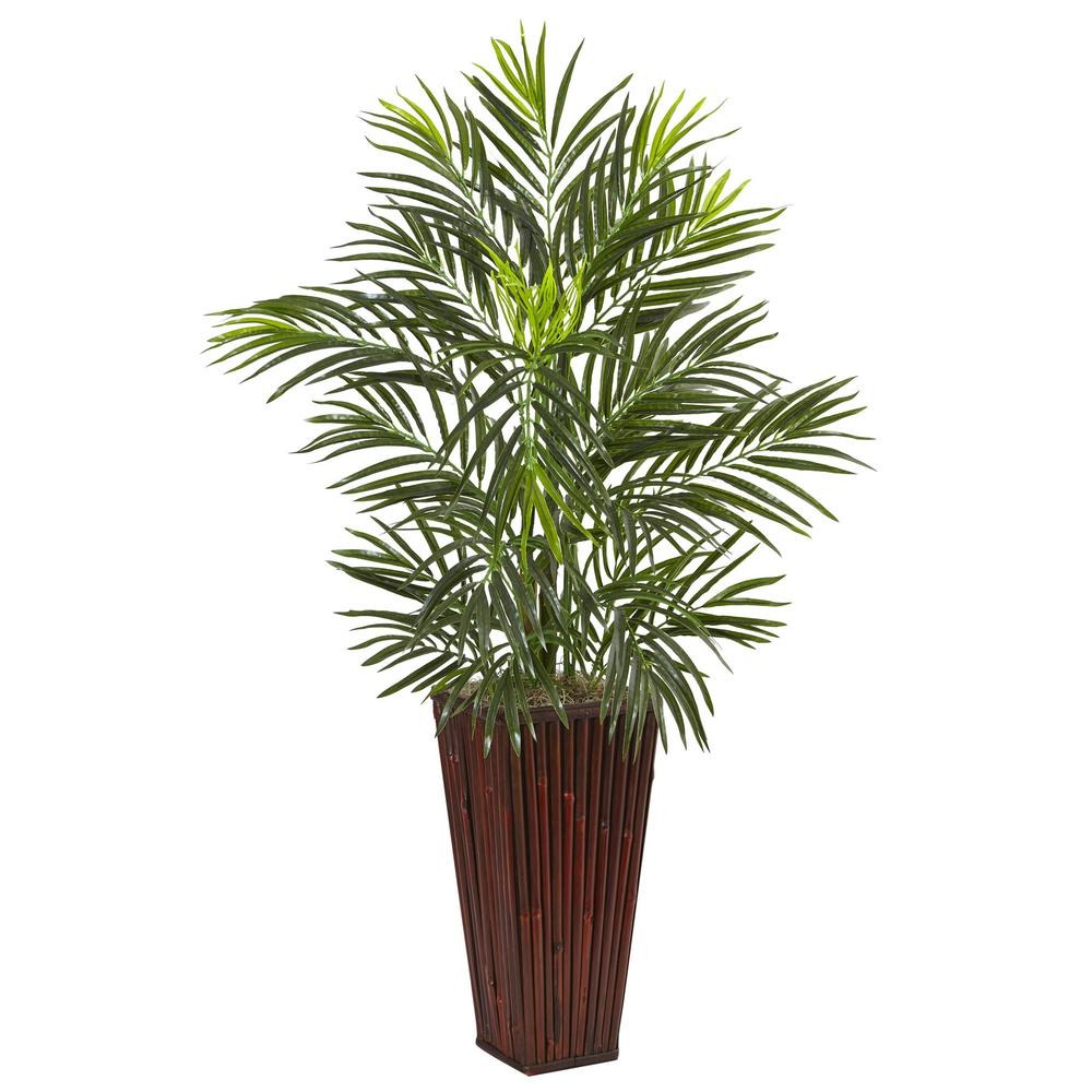 nearly natural indoor areca artificial palm in bamboo planter 6968 the home depot. Black Bedroom Furniture Sets. Home Design Ideas