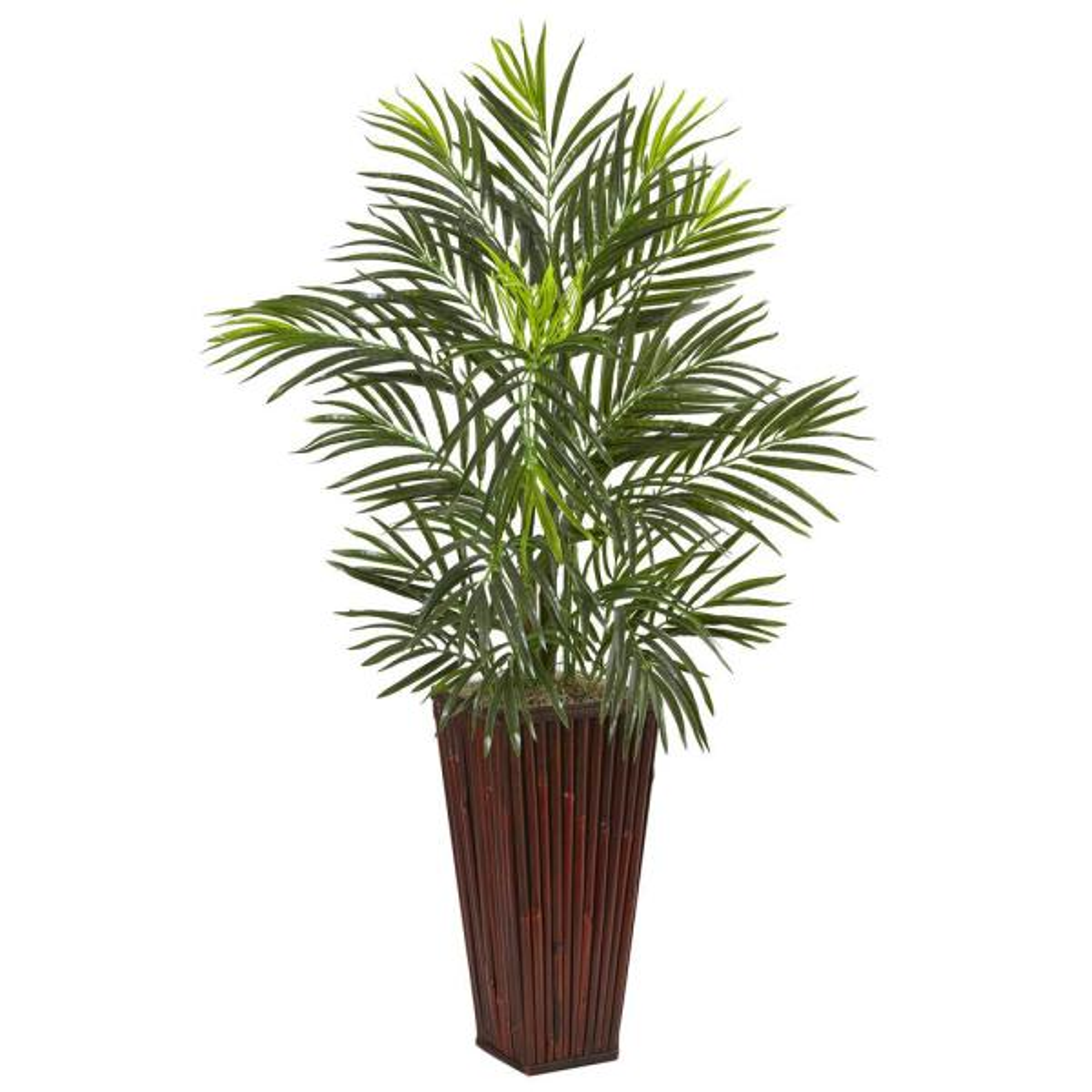 Indoor Areca Artificial Palm in Bamboo Planter