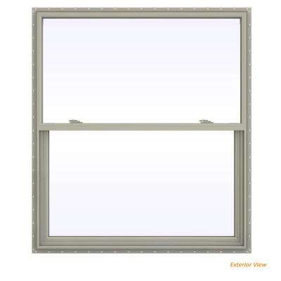 47.5 in. x 53.5 in. V-2500 Series Desert Sand Vinyl Single Hung Window with Fiberglass Mesh Screen