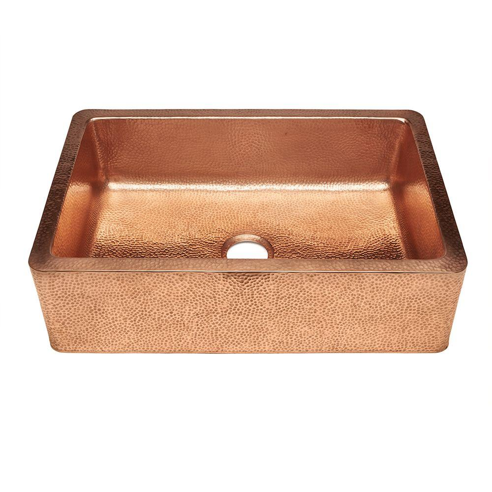 SINKOLOGY Weston Farmhouse Apron Front Pure Copper 33 In. 0 Hole Single  Bowl Kitchen Sink In Unfinished Naked Copper SK304 33NU   The Home Depot