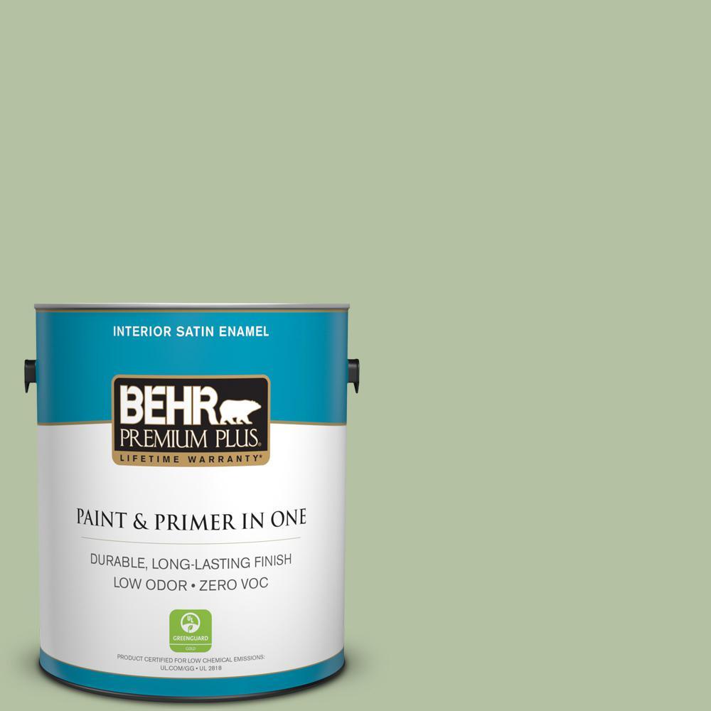 BEHR Premium Plus 1-gal. #M380-4 Chopped Dill Satin Enamel Interior Paint