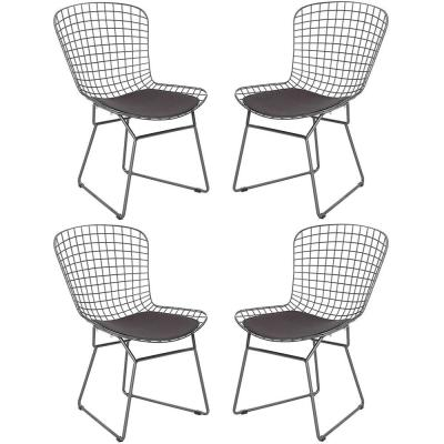 Gray Wire Dining Chair with Seat Cushion and Leaning Cushion (Set of 4)