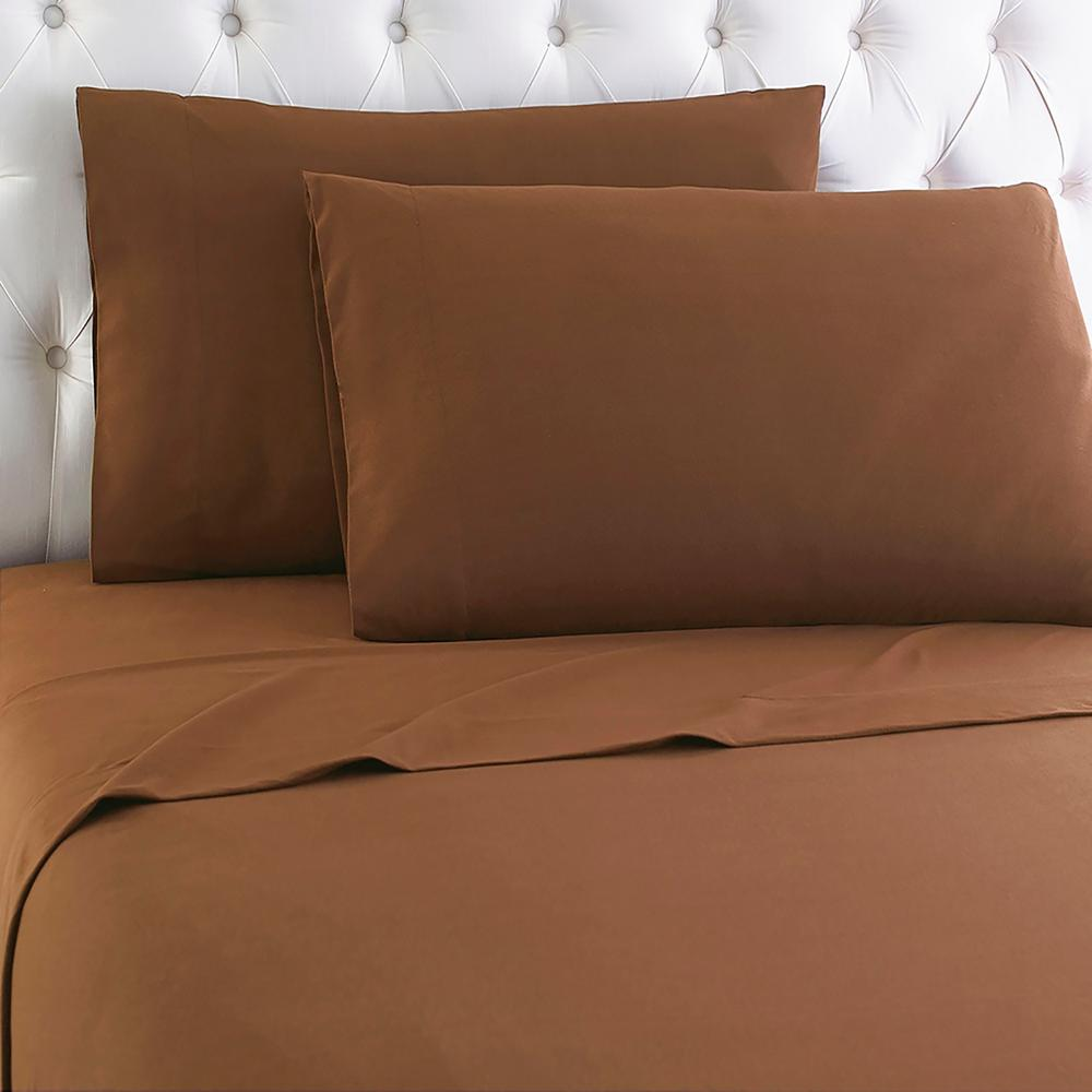 Micro Flannel Queen 4 Piece Chestnut Sheet Set Mfnssqncht