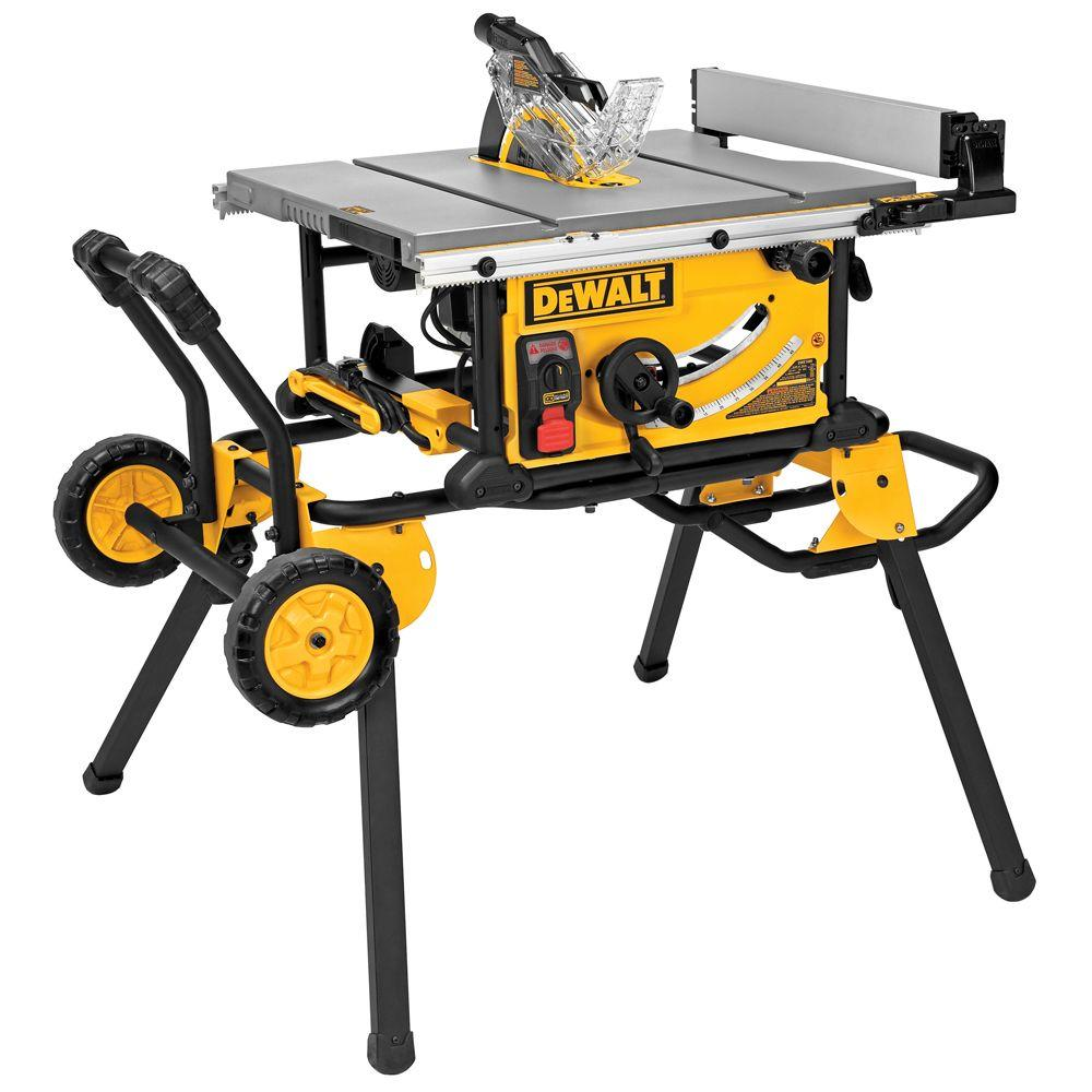 DEWALT 15 Amp 10 in. Job Site Table Saw with Guard Detect and Rolling Stand