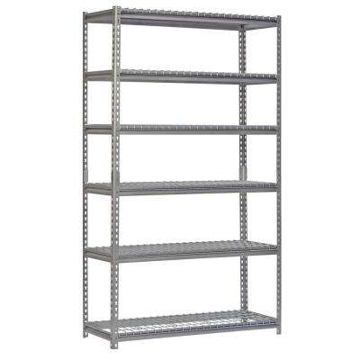 84 in. H x 48 in. W x 18 in. D 6-Shelf Steel Shelving Unit in Silver