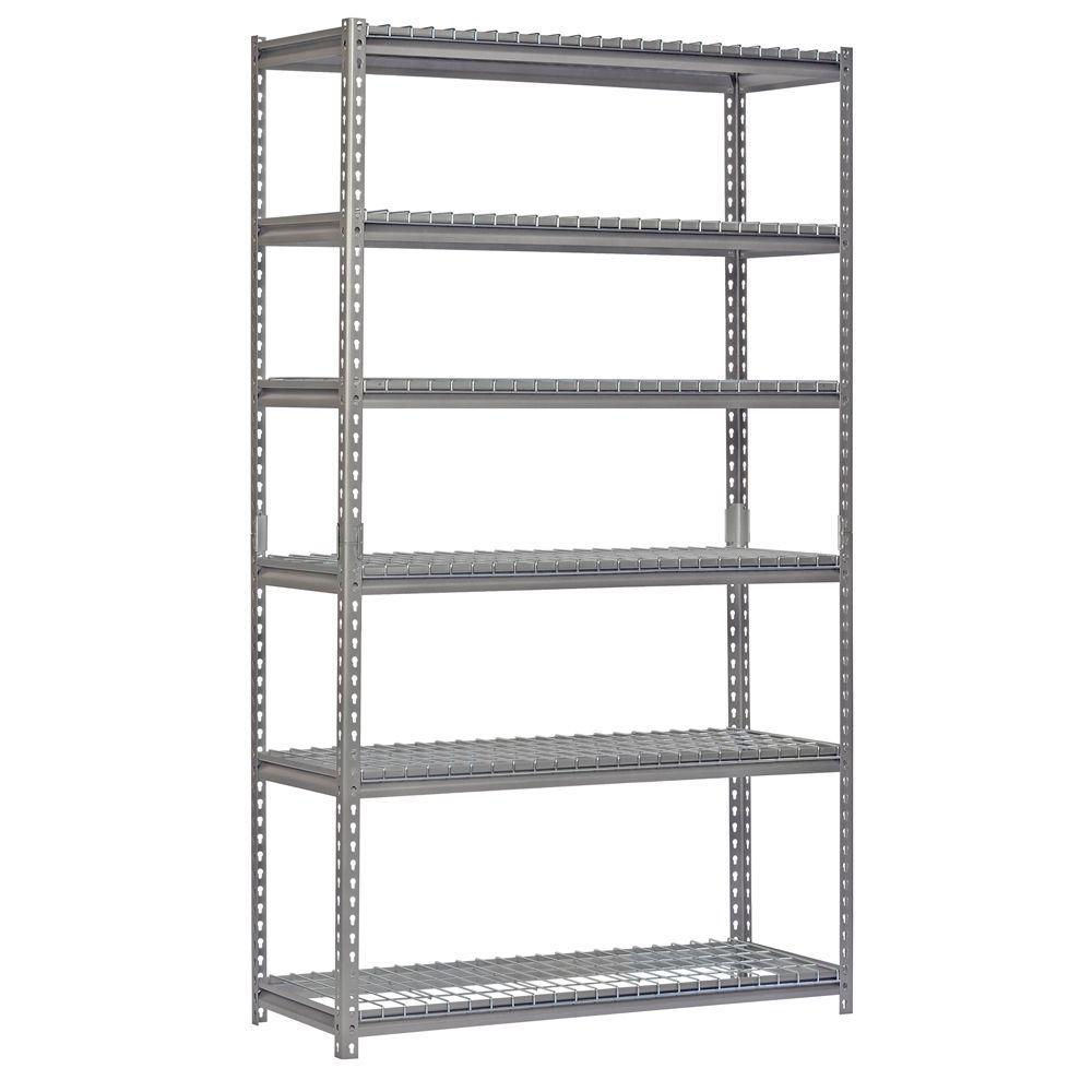 84 in. H x 48 in. W x 18 in. D 6-Shelf Steel Shelving Unit in Silver