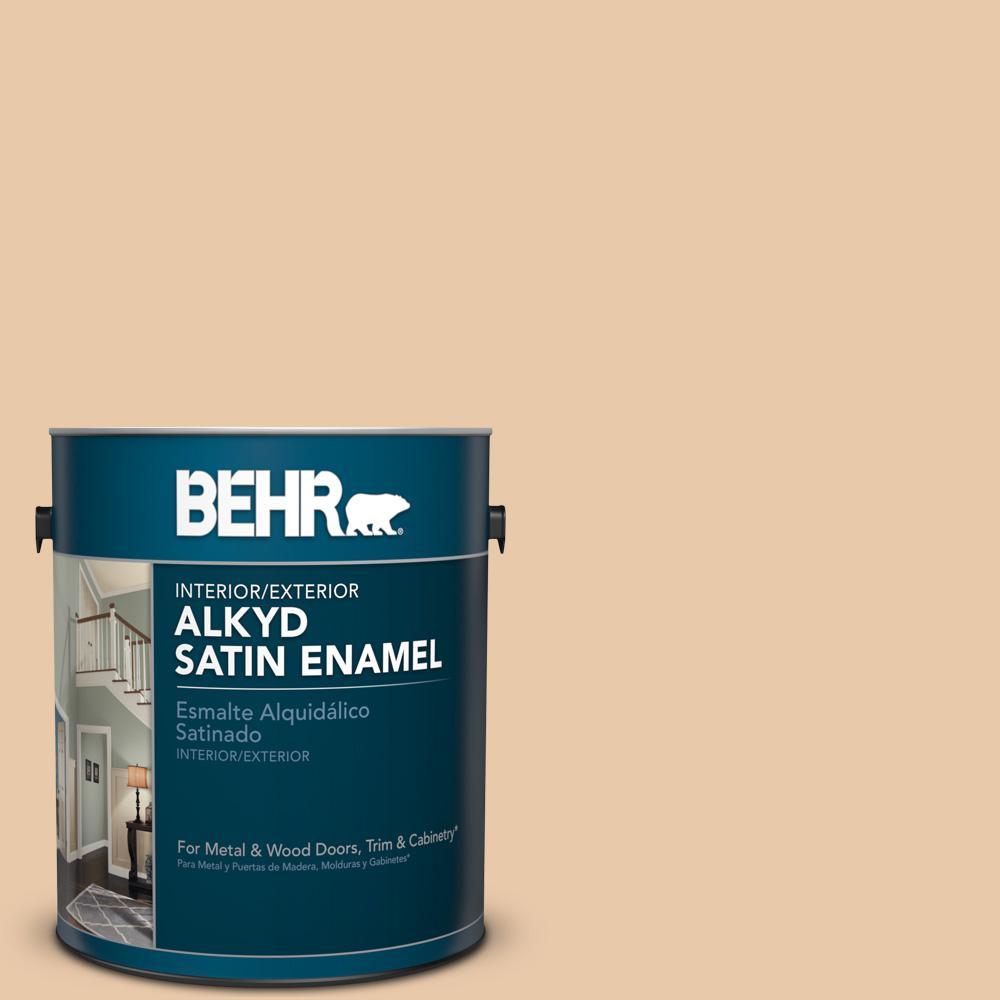 1 gal. #S250-2 Almond Biscuit Satin Enamel Alkyd Interior/Exterior Paint