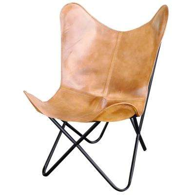 Light Tan Natural Leather Butterfly Chair