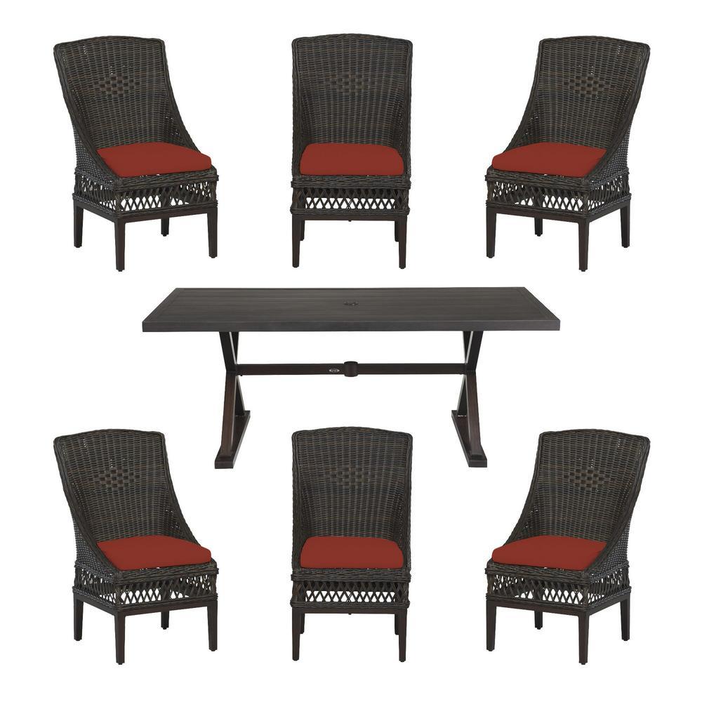 Woodbury Dark Brown 7-Piece Wicker Outdoor Patio Dining Set with Sunbrella Henna Red Cushions