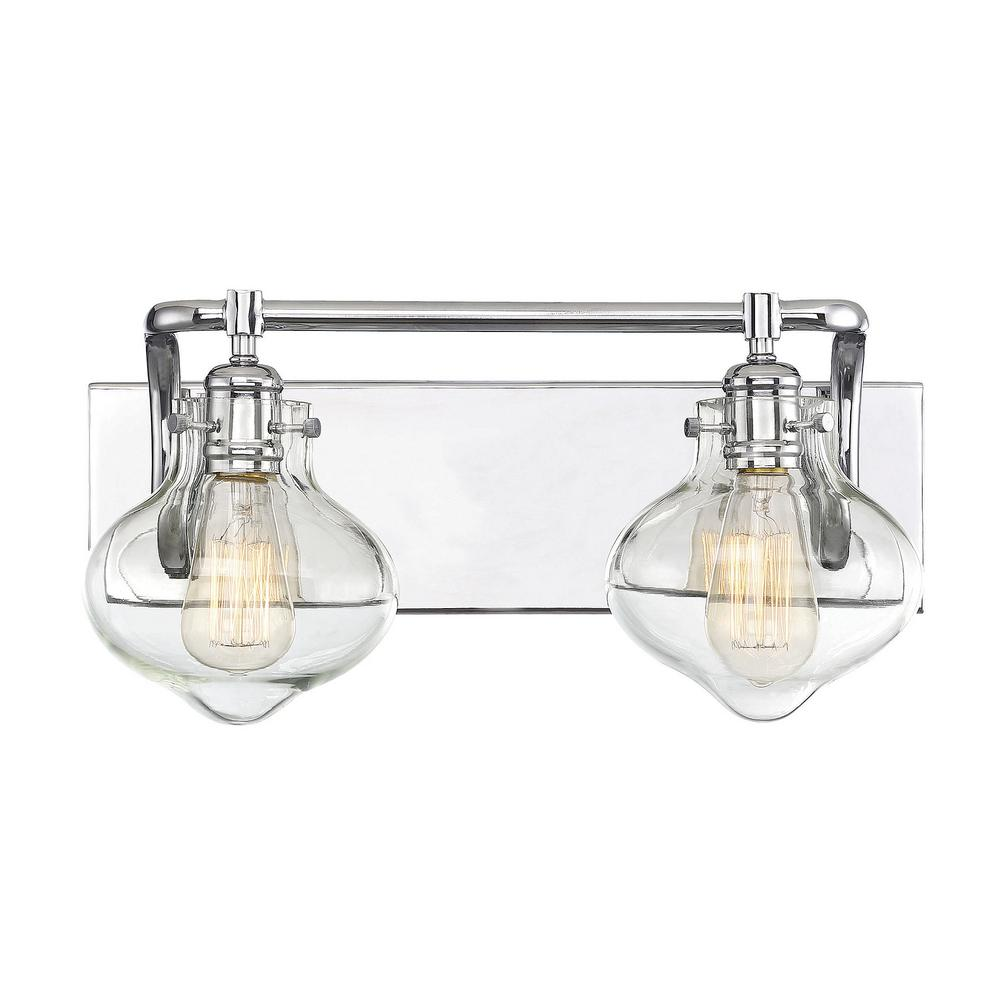 Filament Design 2 Light Polished Chrome Bath With Clear Gl
