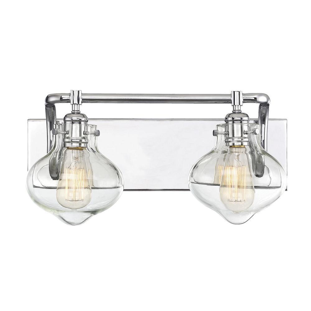Filament design 2 light polished chrome bath light with - Polished chrome bathroom lighting ...