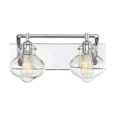 2-Light Polished Chrome Bath Light with Clear Glass