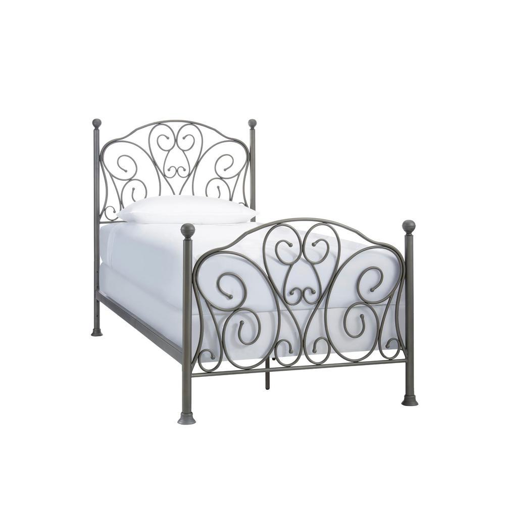 Oil Rubbed Bronze Scroll Metal Twin Standard Bed (43 in. W x 52.36 in. H)