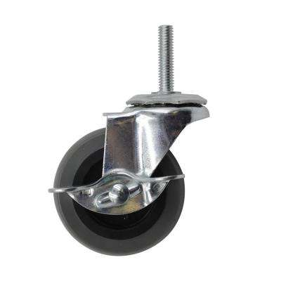 3 in. Medium-Duty Gray TPR Swivel Stem Mount Caster with Brake 175 lbs. Weight Capacity