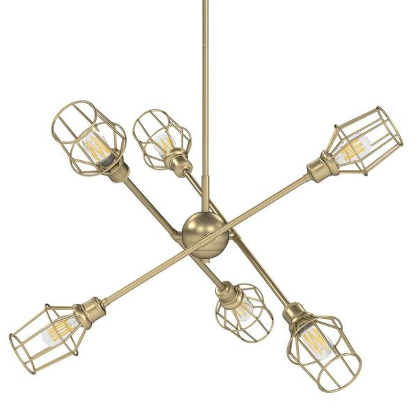 Golden Lighting Axel 6 Light Olympic Gold Sputnik Chandelier 1945 6 Og Wire Og The Home Depot
