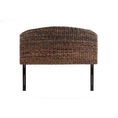 Makassar Handwoven Banana Leaf Brown Queen Headboard