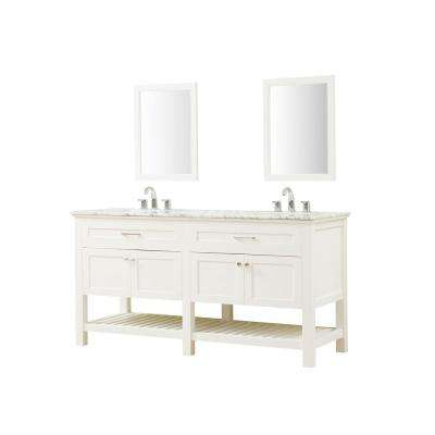 Preswick Spa 70 in. W x 25 in. D Vanity in White with Marble Vanity Top in White Carrara with White Basin and Mirrors