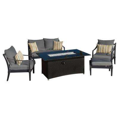Astoria 5-Piece Love and Club Patio Fire Pit Seating Set with Charcoal Grey Cushions