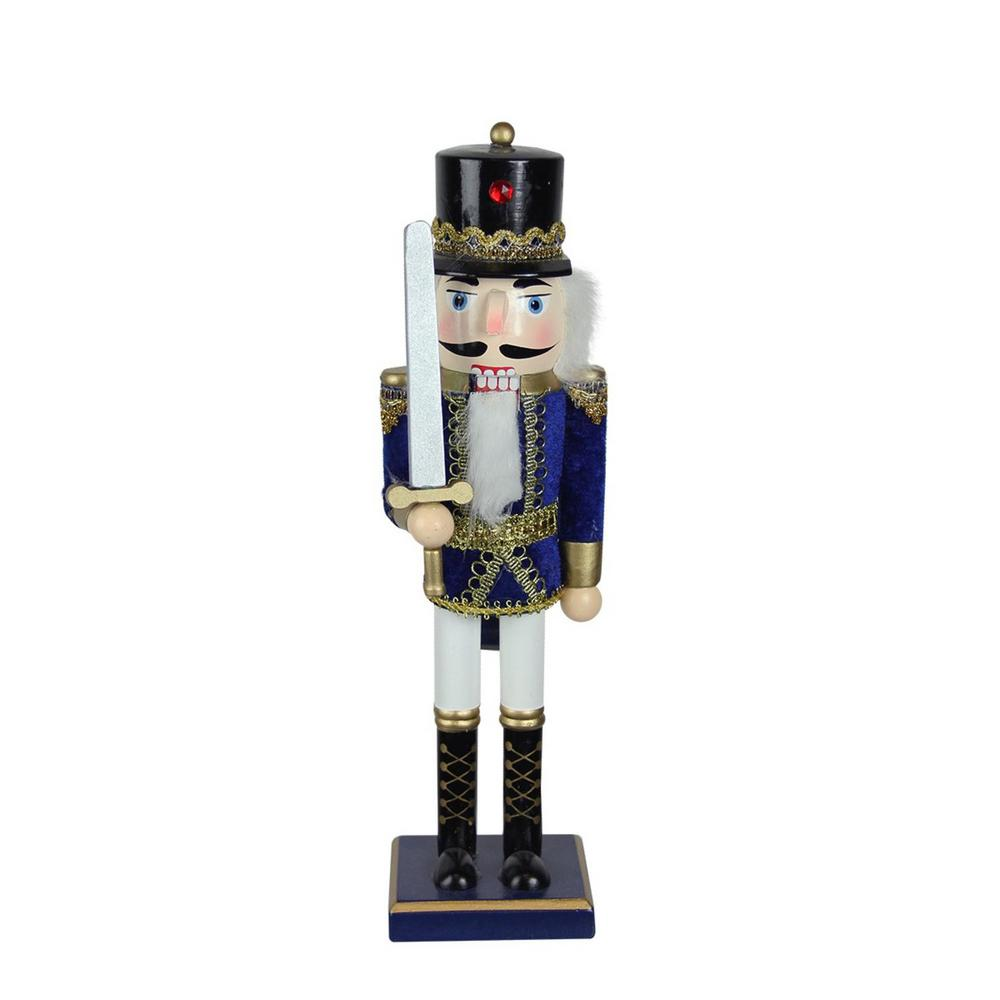 Wooden Blue, White and Gold Christmas Nutcracker Soldier-32258293 - The Home Depot