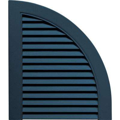 15 in. x 17 in. Louvered Design Classic Blue Quarter Round Tops Pair #036