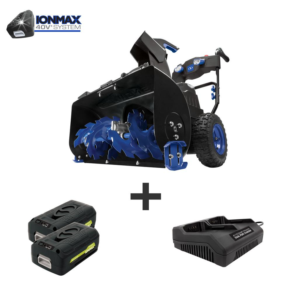 Snow Joe 24 in. 80-Volt 2-Stage Cordless Electric Snow Blower Kit with 2 x 5.0 Ah Batteries + Charger