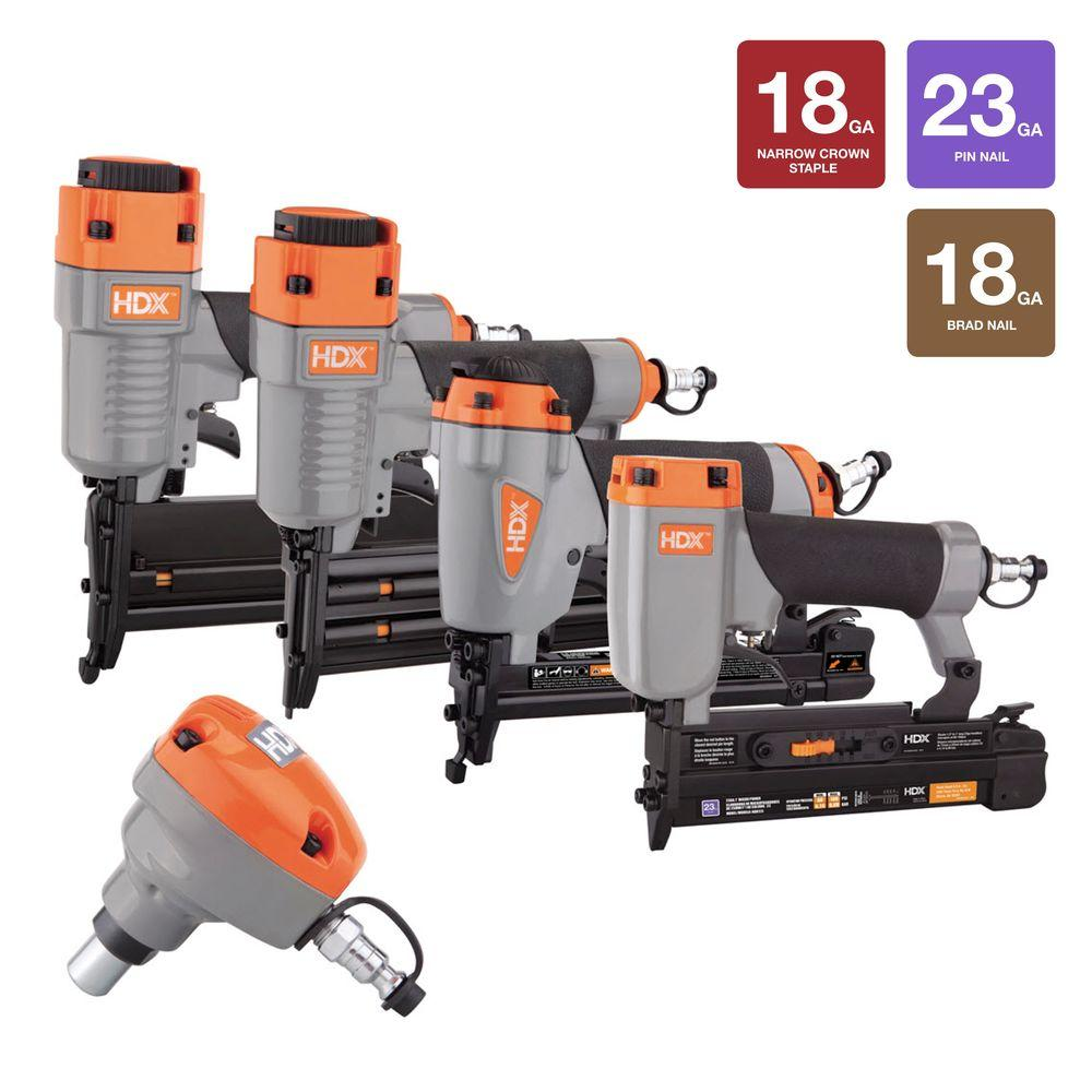 HDX Pneumatic 5-Piece Finish Nail Gun Combo Kit-HDXC5PFNK - The Home ...