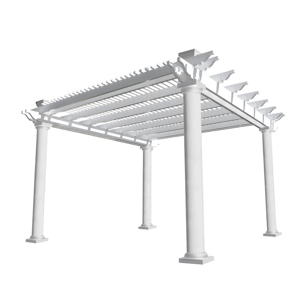 Weatherables Biscayne 14 ft. x 14 ft. White Double Beam Vinyl Pergola