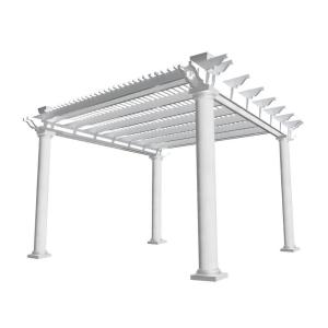 Weatherables Biscayne 14 ft. x 14 ft. White Double Beam Vinyl Pergola by Weatherables